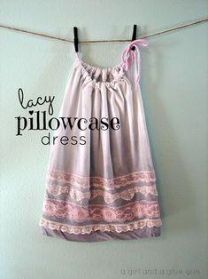 vestido funda de almohada de encaje