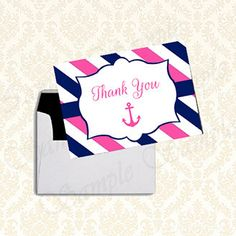 Printable Nautical Girls Baby Shower Thank You Card by JusPrintables on Etsy