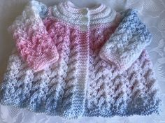 Hand Knitted Baby Girl's Matinee Cardigan Size 0 - 3 Months £8.50