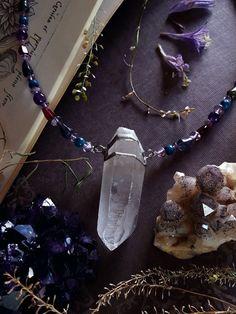 Crystal Necklace Lemurian Quartz Crystal Pendant by bionicunicorn