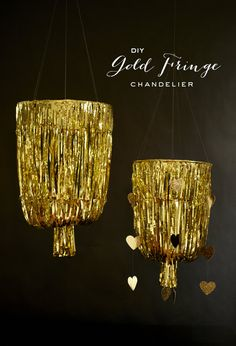 Need some last minute New Years Eve Cheer?  Make these gold DIY chandeliers for your New Year's Eve Party.