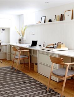Great idea for a clean and bright home office. Love the ledge photo gallery atop. Are you looking for unique art photo prints to curate your gallery walls? Visit bx3foto.etsy.com and follow us on Instagram @bx3foto