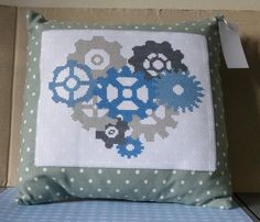 Grey Blue Steampunk Industrial Cogs Handmade Cushion Wedding New Home Gift in Crafts, Cross Stitch, Completed Cross Stitch Handmade Cushions, Wedding News, Cogs, New Home Gifts, Handmade Items, Handmade Gifts, Hand Stitching, Gingham, Blue Grey