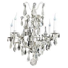 Antique Bagues French Louis XV Cut Rock Crystal Chandelier