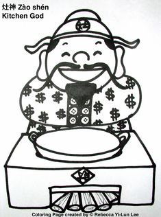 Miss Panda Chinese Chinese New Year coloring page kitchen god