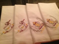 Set of two (2) teacup linens AND two (2) teapot linens on Etsy, $30.00