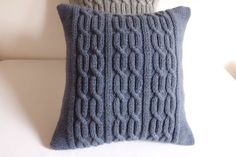 Knit pillow cover blue spruce decorative couch by Adorablewares