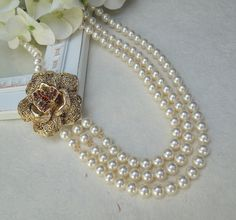 Pearl Necklace Bridal Pearl NecklaceIvory Swarovski by DivineJewel, $100.00