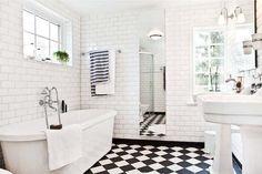 Beautiful Black And White Bathroom Ideas Black And White Tile Bathroom Design Ideas Home Furniture White Bathroom Tiles, Bathroom Tile Designs, Black And White Bathroom Floor, Black Bathroom, Small White Bathrooms, White Tiles, Black Tile Bathrooms, Black And White Tiles, White Bathroom