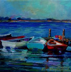 BOATS.. ACRYLIC OVER GLICEE ON CANVAS, painting by artist Elizabeth Blaylock