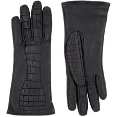 Harrods of London Crocodile Skin and Leather Gloves (30.196.295 IDR) ❤ liked on Polyvore featuring accessories, gloves and leather gloves