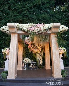 Covered in cascading pastel-hued blooms and greenery, the #chuppah at this #BeverlyHills #wedding was a floral fairytale come to life. See more from this @fslosangeles wedding on WedLuxe.com today! (: @yitzhakdalalphotography, planning: @sacks_productions, floral: @hiddengardenflowers, rentals: @revelryeventdesign, venue: @fslosangeles)