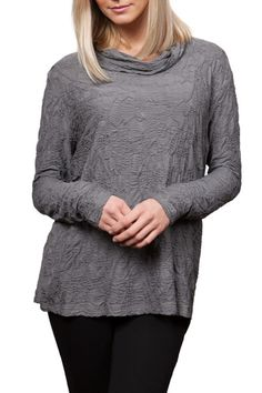 Dreamcatcher textured cowl neck knit top with Hi-Lo hem and long sleeves. Relaxed fit for comfort and style. Easy care and great travel top.  Textured Hi/lo Cowl Top by Sno Skins. Clothing - Tops New York