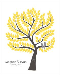 Wedding guestbook tree, personalized wedding guest book alternative, grey and yellow or custom colors, size 16x20 for 150 guests
