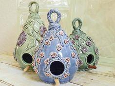 Handmade Ceramic Birdhouse Covered with Pink Sweetheart Roses Flower Vines Gardening Blue Garden Art Handcrafted Pottery Gift for Gardener