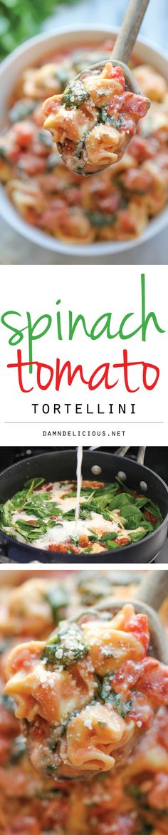 Spinach Tomato Tortellini - The most unbelievably creamy tortellini you will make in just 15 min. Doesn't get easier or tastier than that! use gf tortellini Crockpot Recipes, Soup Recipes, Vegetarian Recipes, Cooking Recipes, Healthy Recipes, Chicken Recipes, Recipies, Spinach And Tomato Tortellini, Tortellini Soup