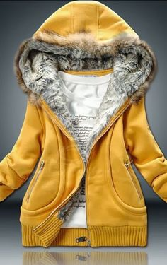 Elegant Yellow Hooded Jacket