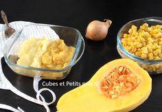 Purée de butternut au maïs et blanc de poulet - https://www.cubesetpetitspois.fr/recette-bebe-12-mois/puree-butternut-mais-poulet-video/