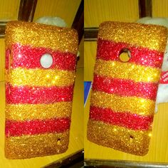 Gold and red glitter phone cover!! Available for sale !! Get your own customized cover for any mobile :) for more details comment below
