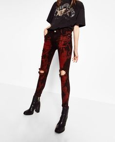Image 2 of RED BLACK JEANS from Zara