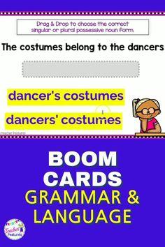 Use digital Boom Cards Distance Learning activities to master 3rd grade grammar skills. Regular