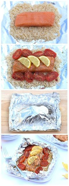 Easy Oven Baked Salmon Parcels Recipe with Lemon and Rice from Eats Amazing UK - a great healthy family friendly recipe for cooking with kids!