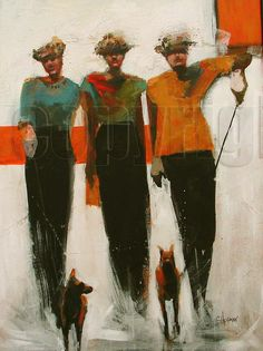 cathy hegman artist | Guardians Dog Trot_40 x 30_acrylic on canvas_Cathy Hegman_watermarked ...
