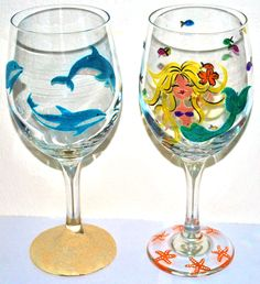 Hand Painted Dolphin & Mermaid Wine Glasses! By www.Cheers2youandyours.com