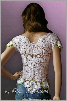 BLUSA EM CROCHE Hobbies And Crafts, Diy And Crafts, Crochet Poncho With Sleeves, Vanessa Montoro, Irish Crochet, Crochet Tops, Crochet Clothes, Womens Fashion, How To Wear