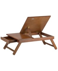 Alden Lap Desk, Flip Top With Drawer, Foldable Legs Teak Brown - Winsome Desk Flip, Lap Desk, Laptop Table, Laptop Stand, Wood Projects, Woodworking Projects, Small Drawers, Space Furniture, Wood Crafts