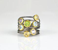 Multi stone Peridot, citrine, blue topaz, purple amethyst ring, mixed metal ring, gemstone ring, multistone ring - boho ring - unique ring #daniquejewelry