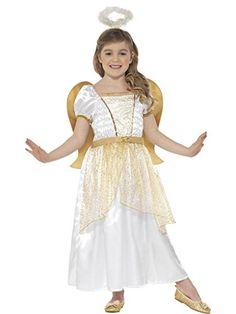 Angel Princess Costume, White & Gold, with Dress, Attached Wings & Halo - Perfect outfit for a childrens school nativity play. Angel Fancy Dress Costume, Princess Fancy Dress Costume, Fancy Dress Outfits, Princess Costumes, Dress Up, Childrens Fancy Dress, Christmas Fancy Dress, Angel Princess, Full Body Costumes