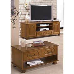 Beaux Meubles Pas Chers Rustic Oak–TV STAND AND COFFEE TABLE SET
