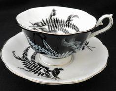 ROYAL ALBERT Platinum Fern Avon TEA CUP AND SAUCER  Midnight BLACK Day #RoyalAlbertCrownchinaEngland