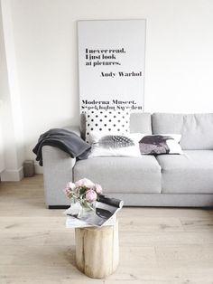 #interior #styling #decor #livingroom #scandinavian #white #grey #stump #frames #posters #pictures #quotes #lettering #cushions #Christmas #thanksgiving #Holiday #quote
