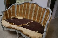 How to Reupholster a French Chair: See the step by step process of this french chair makeover.