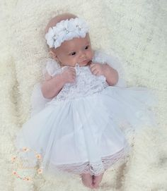 Baptism Dress-Christening dress- Newborn white dress- Newborn Girl Dress- White lace dress, baby girl dress, Baby dress, Flower girl dress