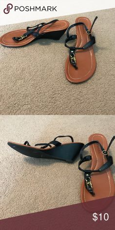 Black wedge sandals Black and gold wedges with a strap Shoes Sandals