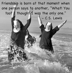 "Friendship is born at that moment when one person says to another, ""What! You too? I thought I was the only one."" ~ C.S. Lewis"