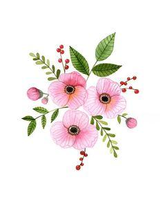 Pink flowers Home art decor print watercolor 68 archival print Floral Illustrations, Botanical Illustration, Watercolor Illustration, Watercolour Painting, Watercolor Flowers, Watercolors, Floral Wall Art, Flower Art, Collages