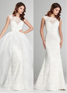Stunning Lace & Tulle Bateau Neckline Natural Waistline 2 In 1 Wedding Dress
