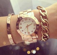Watch and Cartier love bracelet.