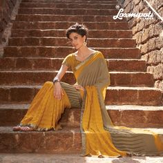 Impress everyone with your stunning traditional look by draping this Chiffon Saree. It will earn you loads of compliments from friends, family and everyone around. This fabulous saree comes with matching blouse fabric. #Catalogue #GURJARI Visit for more designs@ www.laxmipati.com #ReadyToWear #OccasionWear #Ethnicwear #Fashion #GURJARI0816 #FestivalSarees#RakshaBandhan #Couture #LaxmipatiSaree #GiselleMonteiro