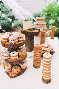 I love donuts - To me whether an early morning breakfast or a late night treat, never have enough! If you are looking to add some fun and great treat ideas for your guests and why not include wedding donuts in your wedding dessert. Wedding Donuts, Wedding Cakes, Donut Wedding Cake, Wedding Food Tables, Wedding Reception, Sweet Table Wedding, Candy Bar Wedding, Wedding Catering, Wedding Vows