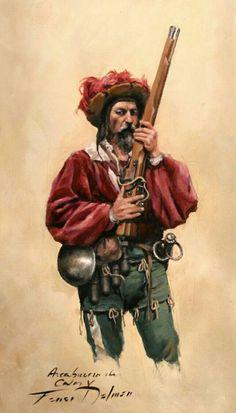 Arquebusier of the armies of Charles V Military Art, Military History, Warhammer Fantasy Roleplay, Character Art, Character Design, Military Drawings, Landsknecht, Renaissance Era, Historical Art