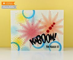 February 2015 NEW RELEASE Showcase Day 3! Card by Jeanne Jachna featuring Halftone Backgrounds and Kaboom Die.  Shop here - http://www.waltzingmousestamps.com/     Waltzingmouse Stamps Blog - http://waltzingmouse.blogspot.ie/ #wms #waltzingmouse