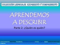 Aprendamos a describir 2 Speech And Language, Speech Therapy, Writing, Author, Activities