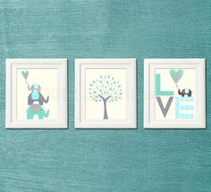 Love nursery  Art Print, 8x10, Baby boy room, Kids Room Decor, Children Wall Art - teal, aqua and grey, elephant nursery. $14.95, via Etsy.