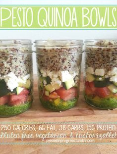 Pesto Quinoa Jars. Love it! I've seen oats jars but quinoa....nice!