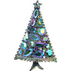 27919a - Vintage Hollycraft Blue AB Rhinestones Christmas Tree Pin